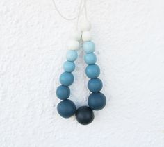 Blue Ombre Necklace, Wooden Bead Necklace, Hand Painted,  Chunky Bead Necklace, Long White Blue Necklace, Gift Ideas, For Her by laviniasboutique on Etsy https://www.etsy.com/listing/182345382/blue-ombre-necklace-wooden-bead-necklace