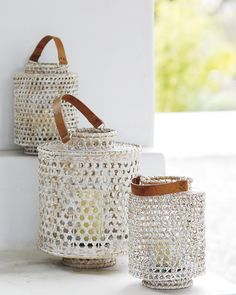 Whitewashed Rattan HurricaneWhitewashed Rattan Hurricane