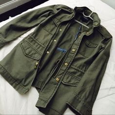 Military jacket Worn  once; very sturdy material; looks very tumblr and good for everyday outfits; has hood in collar for rainy days ! American Eagle Outfitters Jackets & Coats
