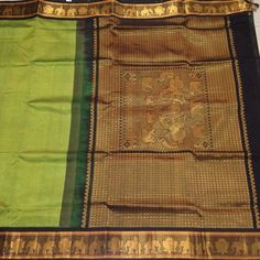 Buy SC220020-VARNAM Handwoven Silkcotton Korvai-Green with Black, 750g online - Handwoven Kanchivarams,Soft Silks, Silk Cottons and Tussars!