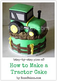 Tractor birthday cakes - How to Make a Tractor Cake Picture Tutorial – Tractor birthday cakes Fancy Cakes, Cute Cakes, Tractor Birthday Cakes, Tractor Cakes, Farm Birthday, Birthday Ideas, Cake Decorating Tutorials, Cookie Decorating, Farm Cake