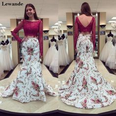Lewande Lace Floral Print Two Piece Prom Dresses 51064 Plum Taffeta Mermaid Long Sleeves 2PC V-back Pageant Gala Gown Cute Prom Dresses, Cheap Bridesmaid Dresses, Mermaid Prom Dresses, Dresses For Teens, Homecoming Dresses, Prom Gowns, Gala Gowns, Frock Fashion, Fancy Gowns