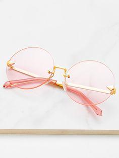 6bea13b19a1 ROMWE - ROMWE Round Lens Rimless Sunglasses - AdoreWe.com Cute Glasses
