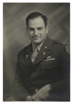 Adrian Kantrowitz in Army uniform with medal, ca. 1946