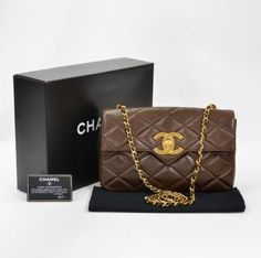 Chanel Brown Quilted Leather Shoulder Bag CC Gold Chain X621