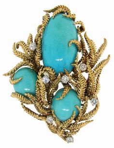David Webb- Diamond, Turquoise & Yellow Gold Fantasy Brooch