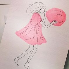 It's just a girl holding a balloon