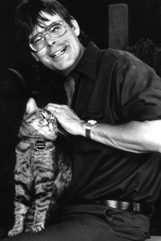 "Stephen King  One of my favorite authors with his kitty ""Clovis"""