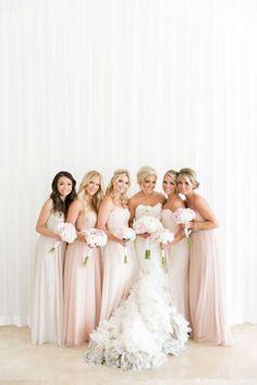 We love this glamorous bridal party in amazing blush hues #silkbride #bridalparty #bridal #wedding