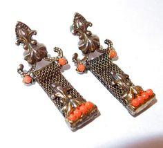 Victorian Revival Mesh, Faux Coral Earrings with Fleur de Lis Ornamentation, Book Piece
