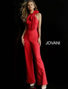 b3325c0ae3 Style 63523 from Jovani is a High Neck Sleeveless Prom Jumpsuit with a bow  at the