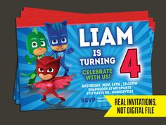 PJ Masks Invitation  Pj Masks Birthday by LittleBeePartyDesign