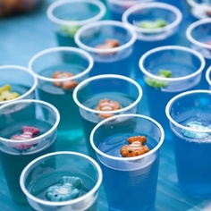 Under the sea jello cups.. Maybe with swedish fish