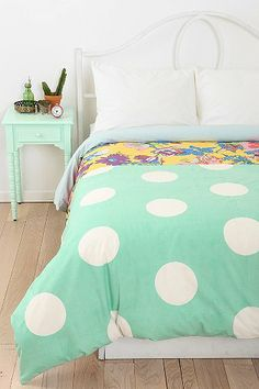Urban Outfitters - Plum & Bow Half Dot Duvet Cover from Urban Outfitters. Duvet Covers Urban Outfitters, Apartment Essentials, Double Duvet Covers, Teen Girl Bedrooms, Dream Bedroom, Light Bedroom, My New Room, My Dream Home, Home Remodeling