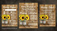 burlap and lace mason jar sunflower wedding invitations set