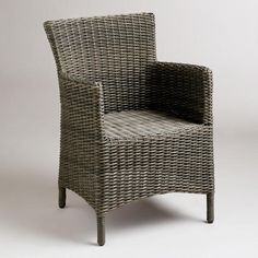 Grey Solano All-Weather Wicker Dining Arm Chair $140 /no cushion/ there is a 15% coupon until 4/22