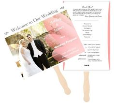 Make a wedding program fan using a personal picture. Free template and detailed steps. Rustic Wedding Programs, Wedding Program Fans, Free Printable Wedding Invitations, Wedding Invitations Online, Wedding Boxes, Wedding Day, Welcome To Our Wedding, Unique Weddings, Budget
