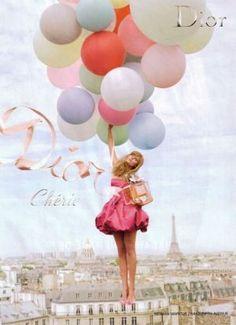Ballerina beauty - mylusciouslife.com - Dior-Cherie-balloon girl perfume ad | More here: http://mylusciouslife.com/prettiness-luscious-pastel-colours/
