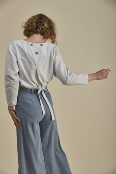 Foam Blouse Paua Shell, Butler, Blue Stripes, Organic Cotton, Blouse, Winter, Sleeves, Fashion, Winter Time