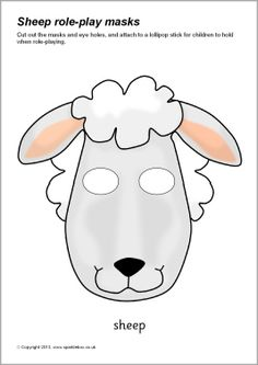 Sheep role-play masks (SB9109) - SparkleBox Sheep Costumes, Nativity Costumes, Animal Costumes, Printable Masks, Printable Animals, Animal Masks For Kids, Mask For Kids, Sheep Mask, Tableaux Vivants