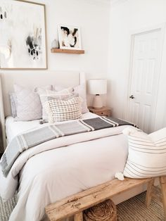 Making Your Home Guest Ready With Serena & Lily – Bedroom Inspirations Diys Room Decor, Guest Room Decor, Home Decor Bedroom, Decor Crafts, Decor Ideas, Ideas For Guest Bedroom, Small Guest Bedrooms, Bench In Bedroom, Chic Bedroom Ideas