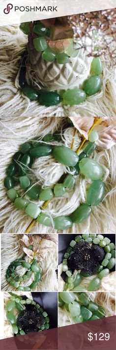 "Real green Jade bold 30"" Natural Necklace  Bold Statement piece - style it even with your favorite plain T-shirt 30 inches long - can be worn with pretty much everything and by everyone! Just be prepared for compliments galore! Gems mined in Brazil  flawless green colors! Accessories"
