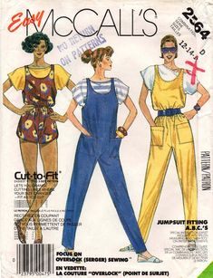 McCall's 2564 Womens Jumpsuit Rompers & T Shirt 80s Vintage Sewing Pattern Size 12 14