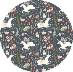 Kristen Balouch for Birch Organic Fabrics, Folkland, Enchanted Unicorns Dusk