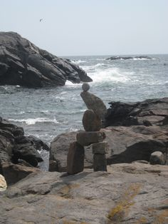 Rock sculpture at Christmas Cove, Monhegan. photo by C. Monhegan Island, Rock Sculpture, New England, Centre, Maine, Bucket, Water, Christmas, Outdoor