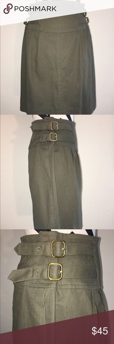 "Marc by Marc Jacobs  skirt Awesome army green skirt with super thin horizontal white stripes buckles on each side • high waisted • back zipper• 84% cotton 13% polyester 3% elastane • approximate measurements made flat and not stretched • waist 15"" • length 21 1/2"" Marc by Marc Jacobs Skirts Midi"
