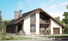 265-001-П Проект двухэтажного дома с мансардой, гараж, большой коттедж из газосиликатных блоков