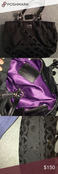 Authentic Coach purse black with purple inside Zipper top with 2 small pockets on the inside and one bigger zipper pocket. Has big open pocket in the back of purse. 2 shoulder straps. Very nice purse Coach Bags Shoulder Bags