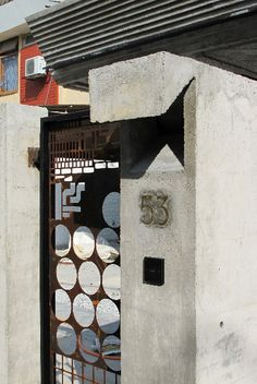 building-bloc architects - off cut sheet metal gate. Metal Shed, Metal Gates, Metal Screen, Front Fence, Steel Art, Inside Outside, Metal Fabrication, Sheet Metal, Kuala Lumpur