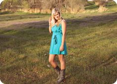 head over heels for this teal dress and vintage cowgirl boots!