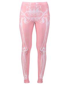 IRON FIST Wishbone Leggings XL PINK X-Ray Skeleton NWT! #IronFist