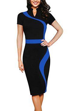 c0f910a1f476d1 REPHYLLIS Women Elegant Wear to Work Casual Cocktail Evening Party Summer  Business Pencil Dress Blue XL