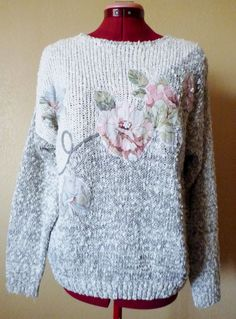 vintage knitted grey/white knitted floral sweater  by june22nd, $22.00