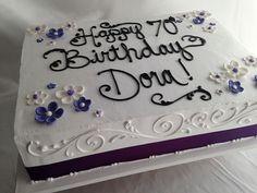 purple sheet cake Source by Cupcakes, Cupcake Cakes, Birthday Cake Ideas For Adults Women, Sheet Cake Designs, Birthday Sheet Cakes, Cake Birthday, Slab Cake, Cake Writing, Retirement Cakes