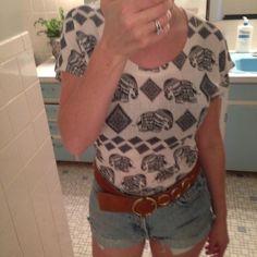 Bohemian knit shirt Cute knit top with indigo elephants printed on it! Tops Tees - Short Sleeve
