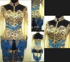 Design by Myrna Myura Kebaya Lace, Kebaya Dress, Kebaya Brokat, Gold Dress, Lace Dress, Indonesian Kebaya, Wedding Costumes, Dance Costumes, Evening Dresses
