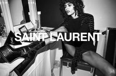 by Anthony Vaccarello Winter 2018 Campaign (Yves Saint Laurent) Ysl, Lineisy Montero, Campaign Fashion, Fashion Advertising, Anthony Vaccarello, Editorial Fashion, Shoes Editorial, Yves Saint Laurent, Fashion Photography