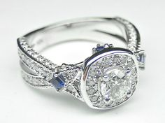 Diamond and Princess Blue Sapphire Engagement Ring