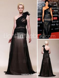 Chiffon Satin A-line One Shoulder Sweep/ Brush Train Evening Dress inspired by Halle Berry - € 145.52