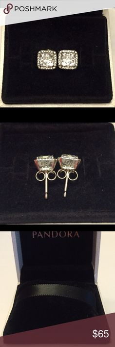 Authentic Pandora Timeless Elegance Earrings Sterling Silver with Beautiful Cz's Hallmark Stamp S 925 ALE. The Pandora Hinged Box is included. Thank you. Pandora Jewelry Earrings