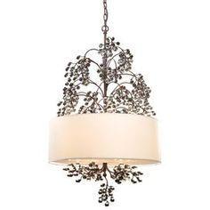 "Showcasing elegant branch-inspired accents with gleaming crystalline droplets, this gorgeous chandelier adds a touch of enchantment to your dining room, living room, or foyer.    Product: Chandelier   Construction Material: Metal  Color: Antique darkwood finish    Accommodates:  (4) 60W medium base bulbs - not included   Dimensions: 36.5"" H x 22"" W"