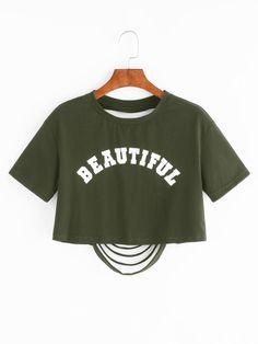 Camiseta corta con letras y espalda con rotura