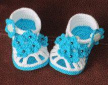 Crochet baby shoes,Crochet baby sandals,Crochet baby booties,Crochet white sandals,Crochet forget-me-not sandals