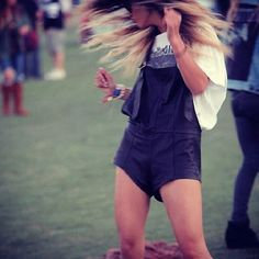 Coachella style: leather overall playsuit.