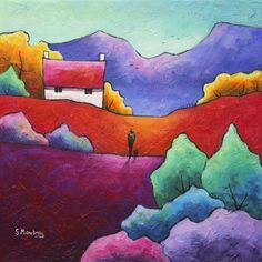 A lonely traveller with his dog, looking totally lost in thought as he heads for home. Lots of added texture gives this piece a vibrancy and makes it very touchy-feely.