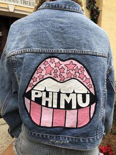 Pink Phi Mu Star Lips Hand Painted Denim Jacket | Etsy